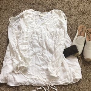 Loft white open sleeve shirt